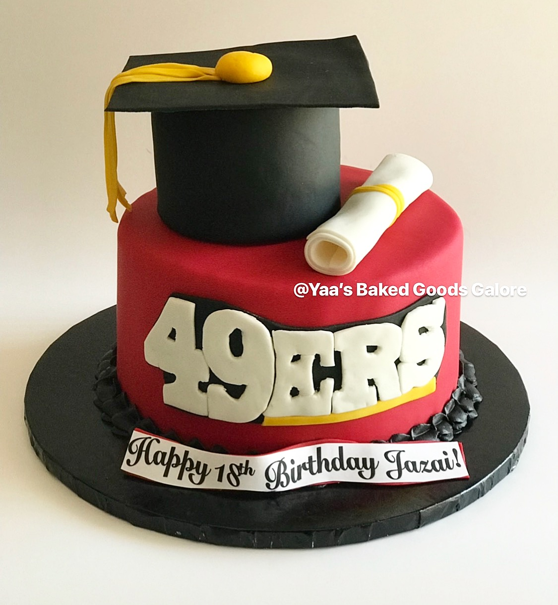 Miraculous 8 Graduation Birthday 49Ers Themed Cake Yaas Baked Goods Galore Funny Birthday Cards Online Overcheapnameinfo