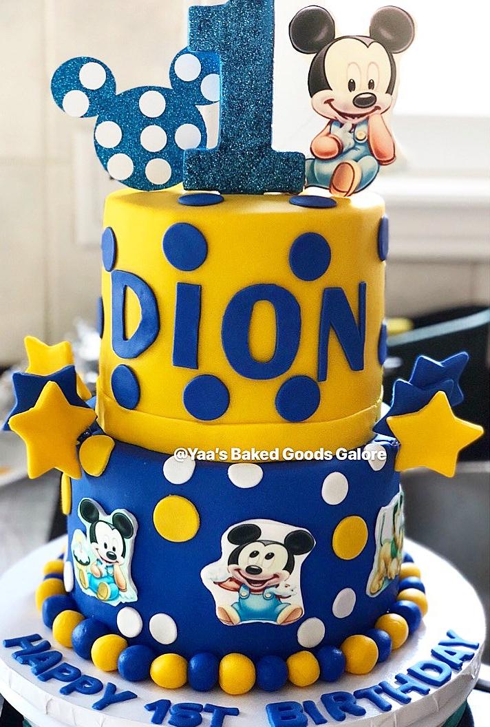 Brilliant 6 8 Custom 1St Birthday Mickey Mouse Themed Cake Yaas Baked Funny Birthday Cards Online Sheoxdamsfinfo