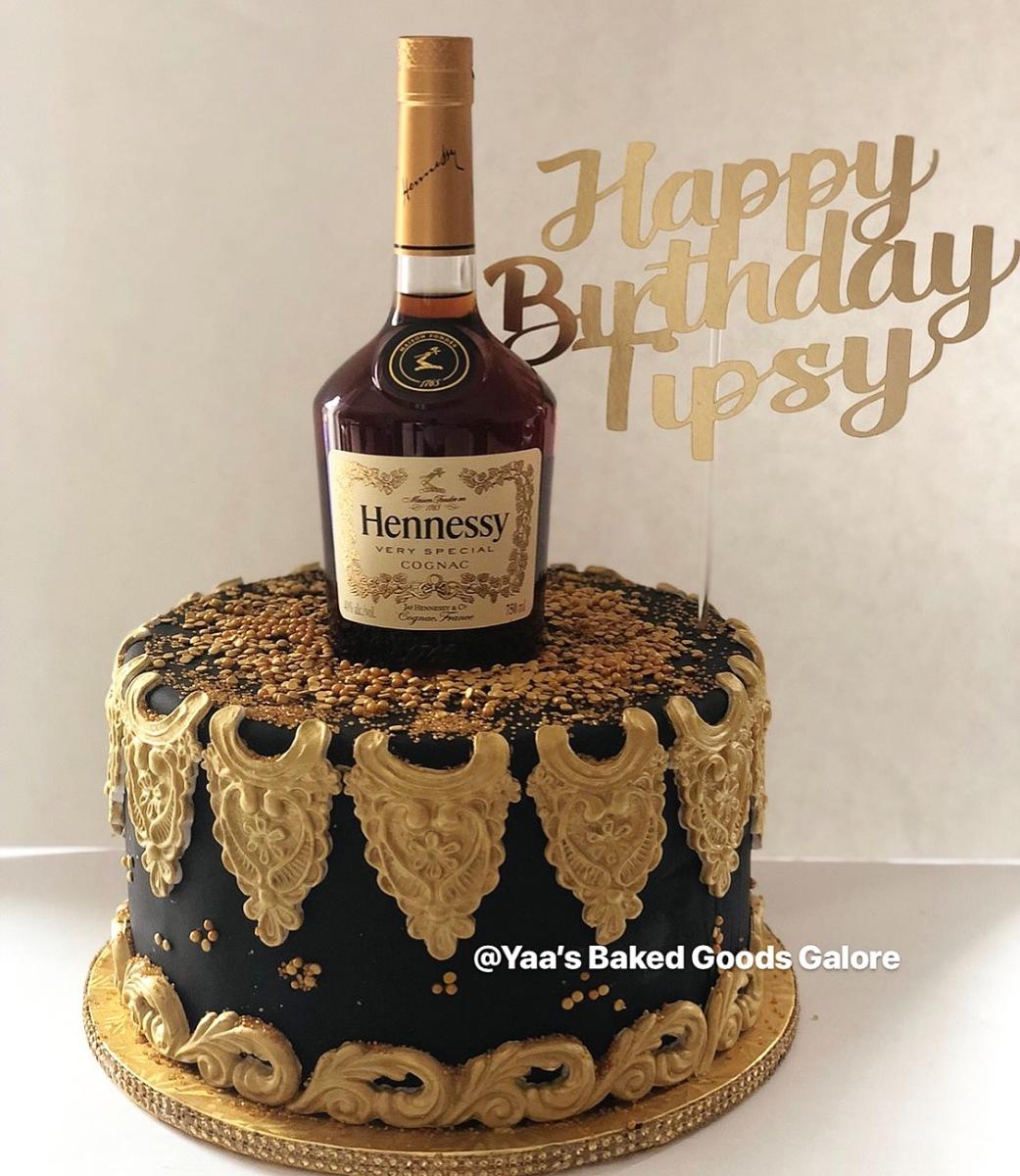 Fantastic 10 Chocolate Custom Cake With Hennessy Bottle On Top Yaas Funny Birthday Cards Online Alyptdamsfinfo
